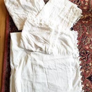 H&M White Sheer Pom Pom Curtains